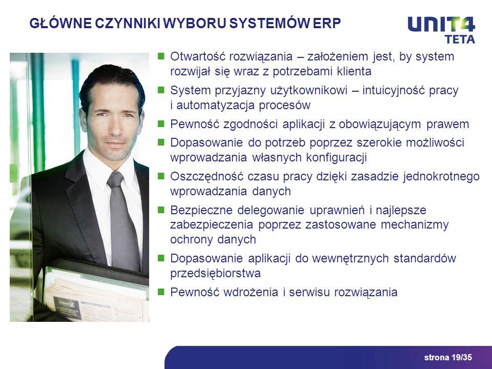 strona 19/35 GŁÓWNE CZYNNIKI WYBORU SYSTEMÓW ERP Otwartość rozwiązania – założeniem jest, by system rozwijał się wraz z potrzebami klienta System przy