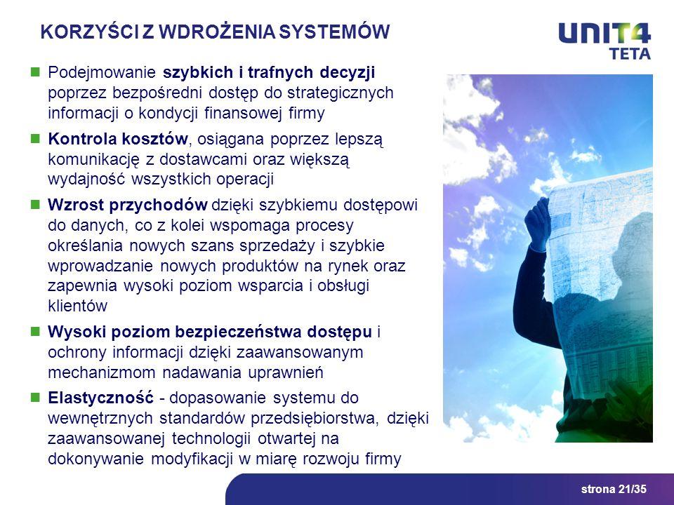 strona 21/35 KORZYŚCI Z WDROŻENIA SYSTEMÓW Podejmowanie szybkich i trafnych decyzji poprzez bezpośredni dostęp do strategicznych informacji o kondycji