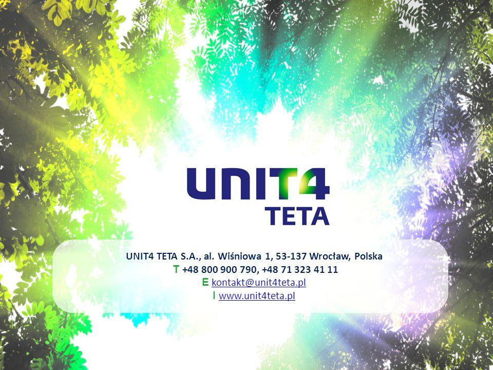 UNIT4 TETA S.A., al. Wiśniowa 1, 53-137 Wrocław, Polska T +48 800 900 790, +48 71 323 41 11 E kontakt@unit4teta.plkontakt@unit4teta.pl I www.unit4teta
