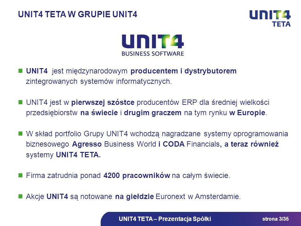strona 3/35 UNIT4 jest międzynarodowym producentem i dystrybutorem zintegrowanych systemów informatycznych. UNIT4 jest w pierwszej szóstce producentów