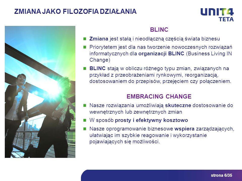 strona 6/35 ZMIANA JAKO FILOZOFIA DZIAŁANIA BLINC Zmiana jest stałą i nieodłączną częścią świata biznesu Priorytetem jest dla nas tworzenie nowoczesny