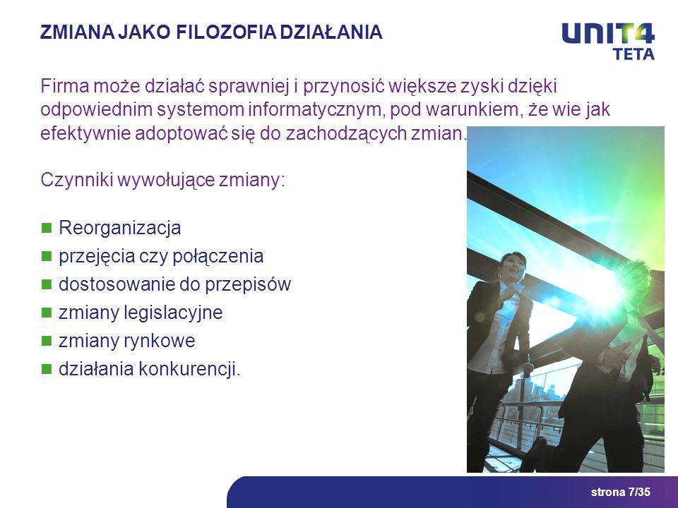 strona 7/35 ZMIANA JAKO FILOZOFIA DZIAŁANIA Firma może działać sprawniej i przynosić większe zyski dzięki odpowiednim systemom informatycznym, pod war