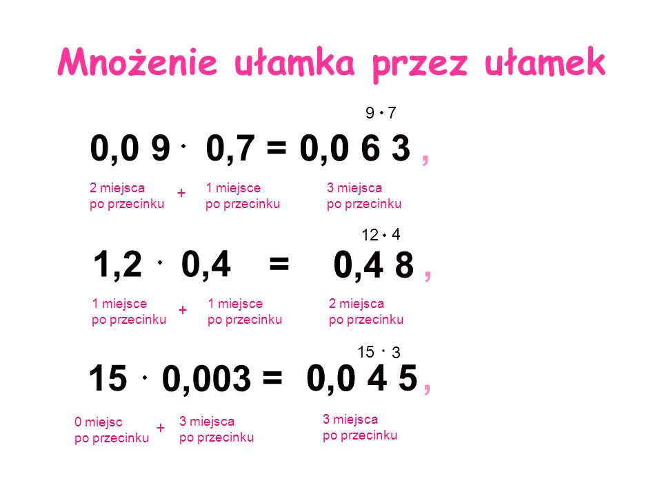 , 4 5 0,0 4 50 0,003 15 + 4 8, 0,4 8 0, 6 3 0,0 6 3 Mnożenie ułamka przez ułamek 0,0 90,7= 97 2 miejsca po przecinku 1 miejsce po przecinku 3 miejsca