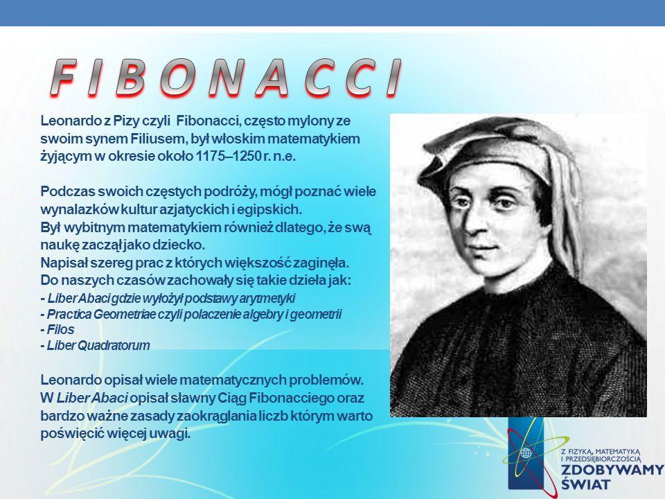 Leonardo z Pizy czyli Fibonacci, często mylony ze swoim synem Filiusem, był włoskim matematykiem żyjącym w okresie około 1175–1250 r. n.e. Podczas swo