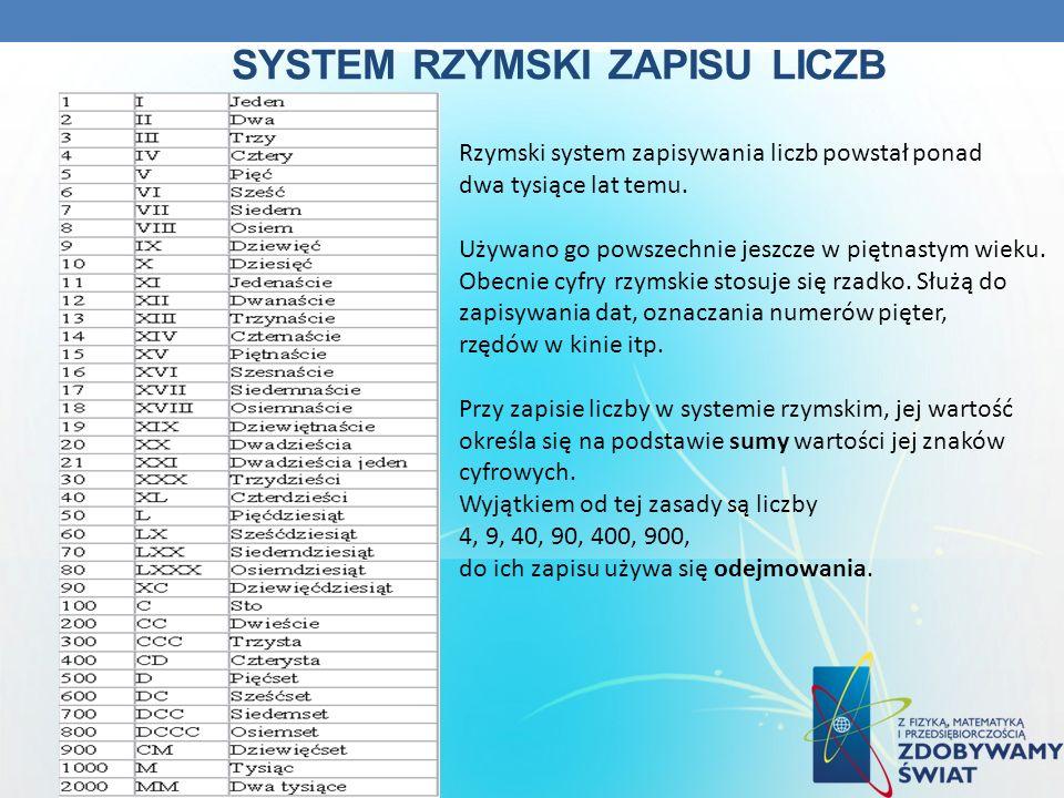 SYSTEM RZYMSKI ZAPISU LICZB Rzymski system zapisywania liczb powstał ponad dwa tysiące lat temu. Używano go powszechnie jeszcze w piętnastym wieku. Ob