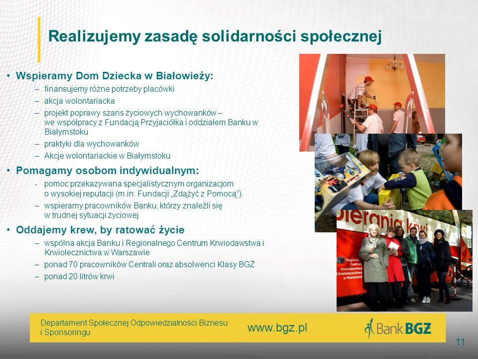 www.bgz.pl 11 Departament Społecznej Odpowiedzialności Biznesu i Sponsoringu Realizujemy zasadę solidarności społecznej Wspieramy Dom Dziecka w Białow