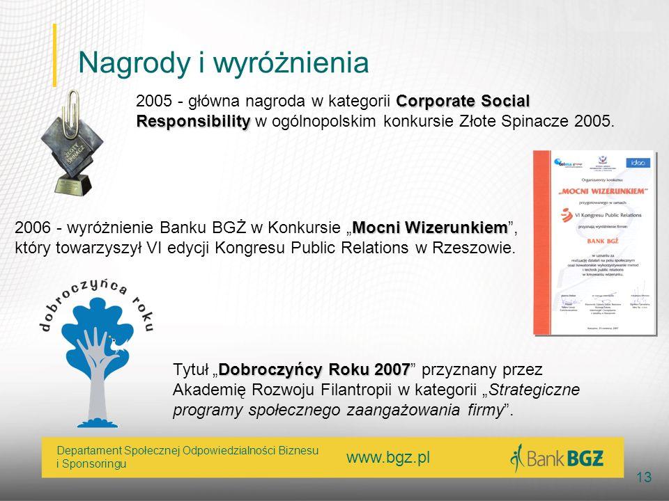 www.bgz.pl 13 Departament Społecznej Odpowiedzialności Biznesu i Sponsoringu Nagrody i wyróżnienia Corporate Social Responsibility 2005 - główna nagro