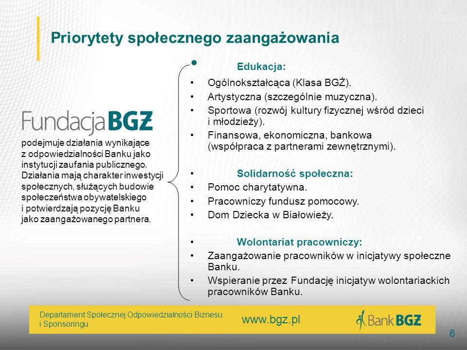 www.bgz.pl 6 Departament Społecznej Odpowiedzialności Biznesu i Sponsoringu Priorytety społecznego zaangażowania Edukacja: Ogólnokształcąca (Klasa BGŻ