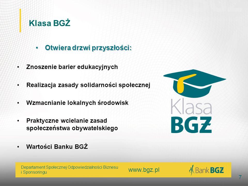 www.bgz.pl 7 Departament Społecznej Odpowiedzialności Biznesu i Sponsoringu Klasa BGŻ Otwiera drzwi przyszłości:Otwiera drzwi przyszłości: Znoszenie b