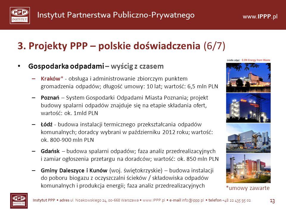 Instytut PPP adres ul. Noakowskiego 24, 00-668 Warszawa www.IPPP.pl e-mail info@ippp.pl telefon +48 22 435 95 02 13 Instytut Partnerstwa Publiczno-Pry