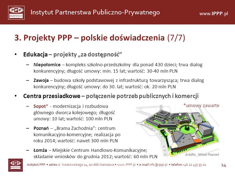 Instytut PPP adres ul. Noakowskiego 24, 00-668 Warszawa www.IPPP.pl e-mail info@ippp.pl telefon +48 22 435 95 02 14 Instytut Partnerstwa Publiczno-Pry