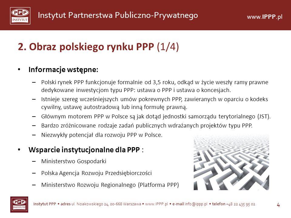 Instytut PPP adres ul. Noakowskiego 24, 00-668 Warszawa www.IPPP.pl e-mail info@ippp.pl telefon +48 22 435 95 02 4 Instytut Partnerstwa Publiczno-Pryw