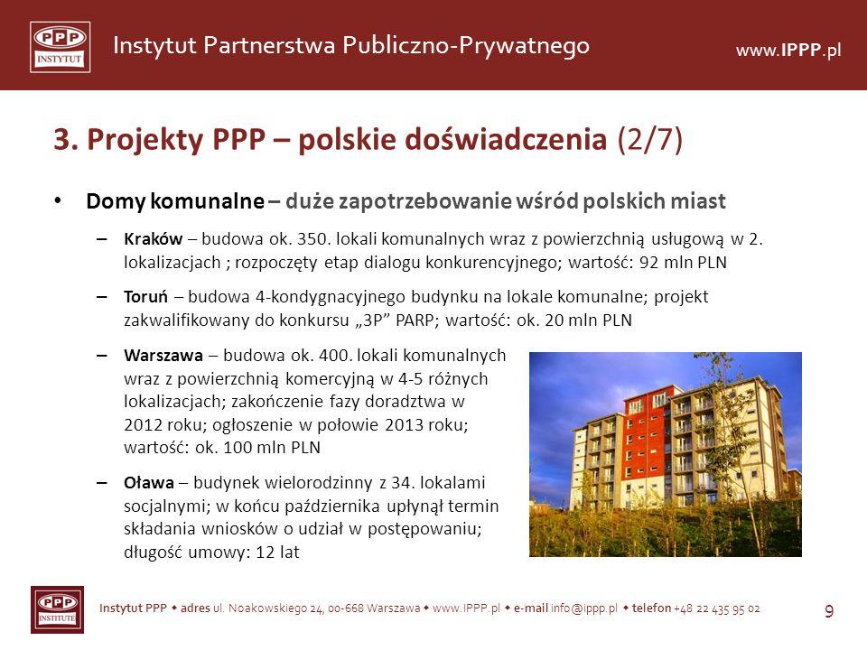 Instytut PPP adres ul. Noakowskiego 24, 00-668 Warszawa www.IPPP.pl e-mail info@ippp.pl telefon +48 22 435 95 02 9 Instytut Partnerstwa Publiczno-Pryw