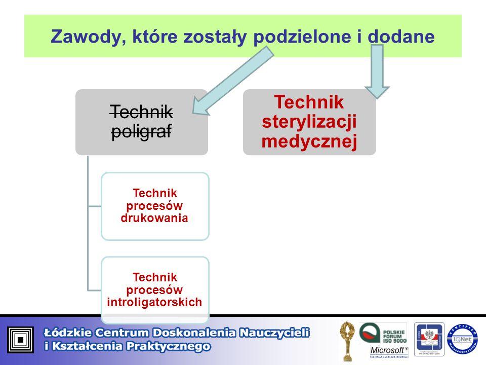Zawody, które zostały podzielone i dodane Technik poligraf Technik procesów drukowania Technik procesów introligatorskich Technik sterylizacji medyczn