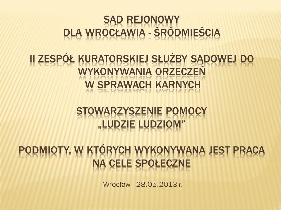 Wrocławskie Sądy Rejonowe, Zespoły Kuratorskiej Służby Sądowej oraz podmioty, w których bezpośrednio wykonywana jest kara ograniczenia wolności Stowarzyszenie Pomocy Ludzie Ludziom – ogniwo łączące w/w struktury Program współfinansowany ze środków Gminy Wrocław