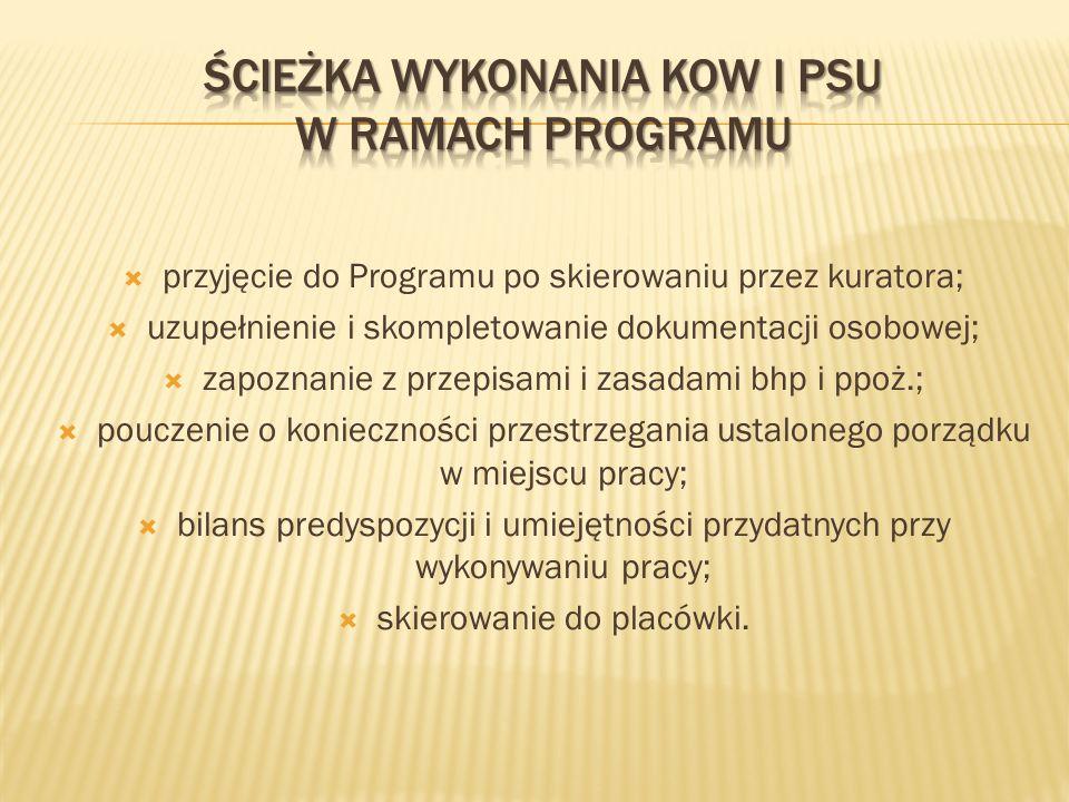 przyjęcie do Programu po skierowaniu przez kuratora; uzupełnienie i skompletowanie dokumentacji osobowej; zapoznanie z przepisami i zasadami bhp i ppo