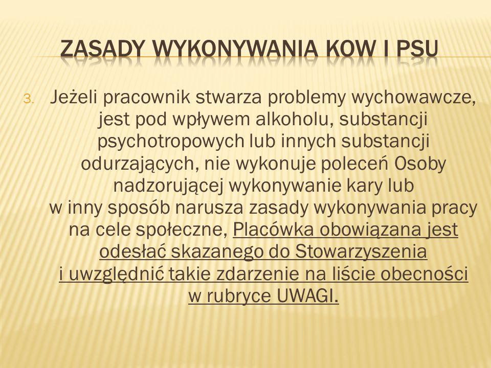 3. Jeżeli pracownik stwarza problemy wychowawcze, jest pod wpływem alkoholu, substancji psychotropowych lub innych substancji odurzających, nie wykonu