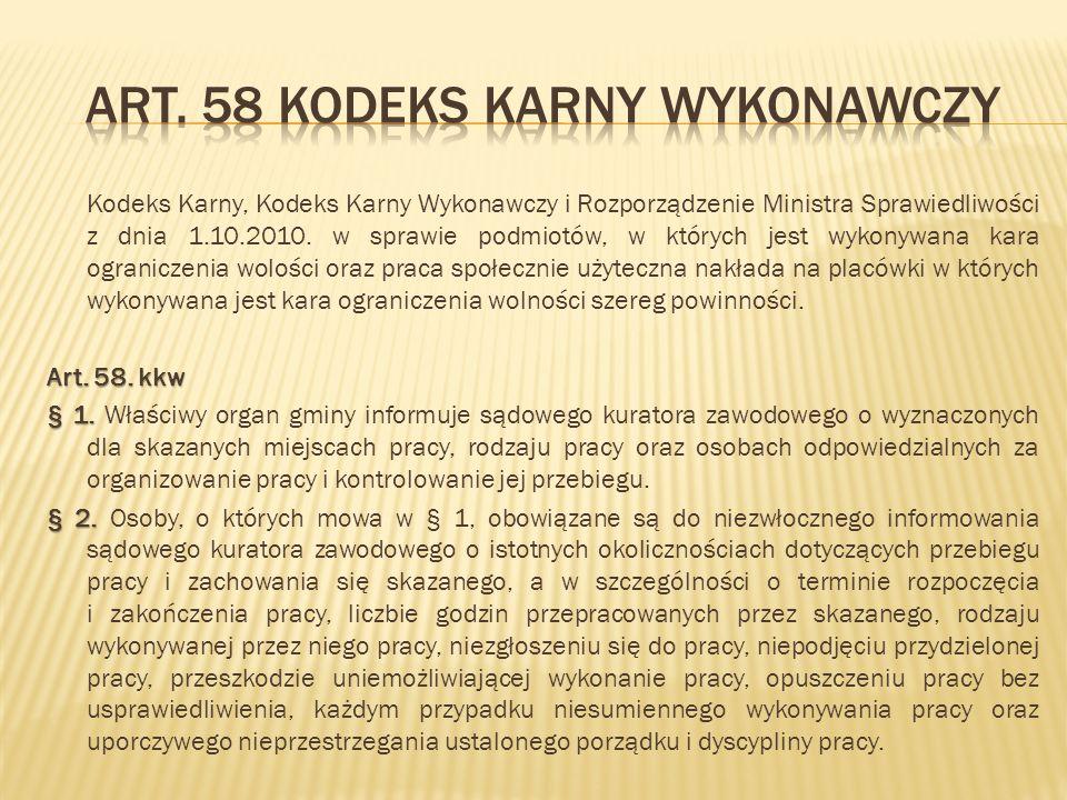 Kodeks Karny, Kodeks Karny Wykonawczy i Rozporządzenie Ministra Sprawiedliwości z dnia 1.10.2010. w sprawie podmiotów, w których jest wykonywana kara
