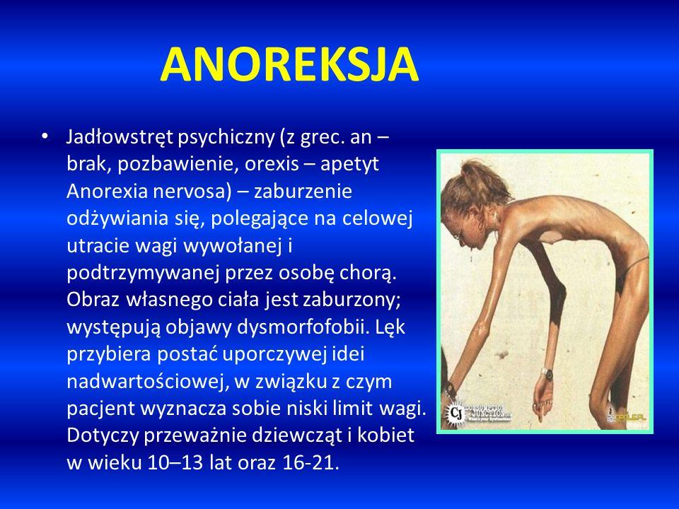 ANOREKSJA Jadłowstręt psychiczny (z grec. an – brak, pozbawienie, orexis – apetyt Anorexia nervosa) – zaburzenie odżywiania się, polegające na celowej