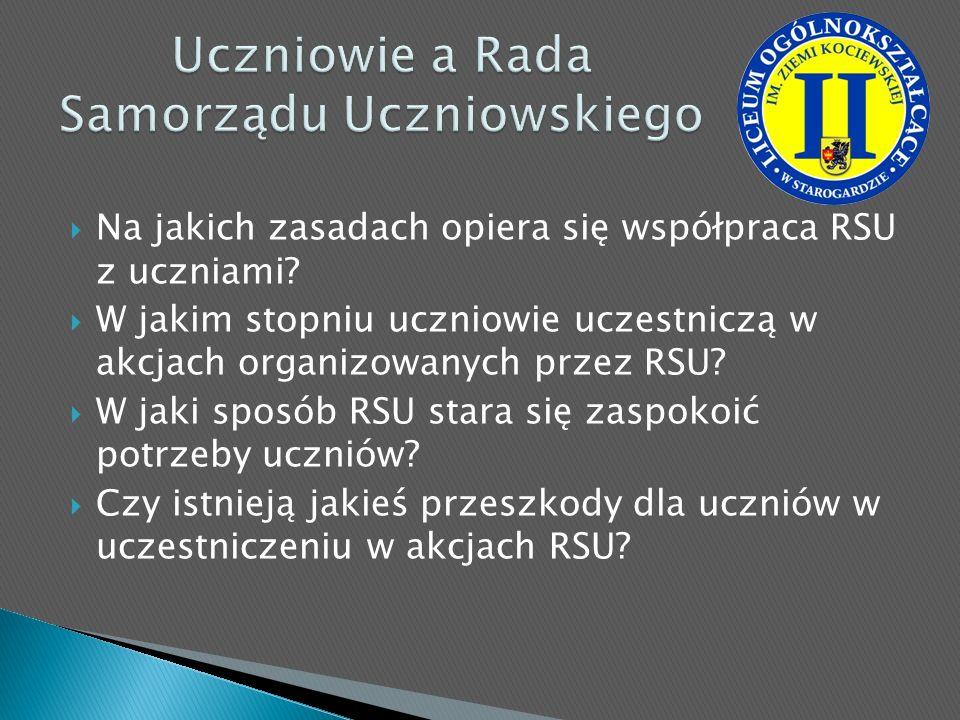 Na jakich zasadach opiera się współpraca RSU z uczniami? W jakim stopniu uczniowie uczestniczą w akcjach organizowanych przez RSU? W jaki sposób RSU s