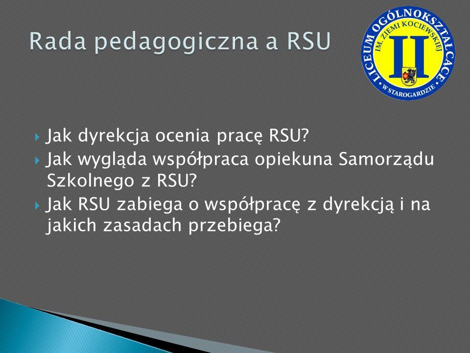Jak dyrekcja ocenia pracę RSU? Jak wygląda współpraca opiekuna Samorządu Szkolnego z RSU? Jak RSU zabiega o współpracę z dyrekcją i na jakich zasadach