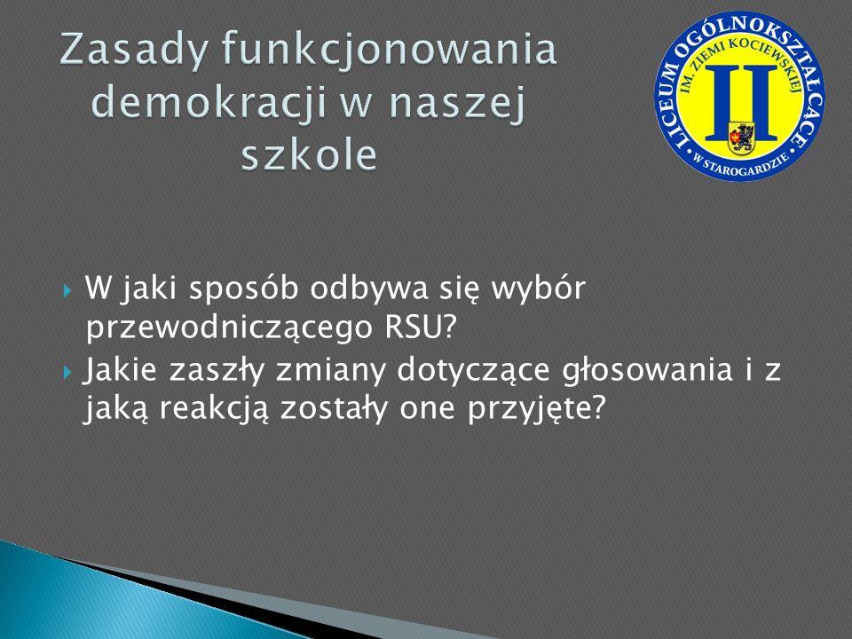 W jaki sposób odbywa się wybór przewodniczącego RSU? Jakie zaszły zmiany dotyczące głosowania i z jaką reakcją zostały one przyjęte?