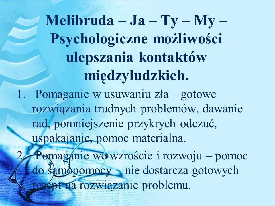 Melibruda – Ja – Ty – My – Psychologiczne możliwości ulepszania kontaktów międzyludzkich. 1. Pomaganie w usuwaniu zła – gotowe rozwiązania trudnych pr