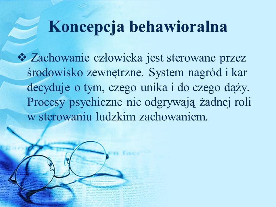 Koncepcja behawioralna Zachowanie człowieka jest sterowane przez środowisko zewnętrzne. System nagród i kar decyduje o tym, czego unika i do czego dąż