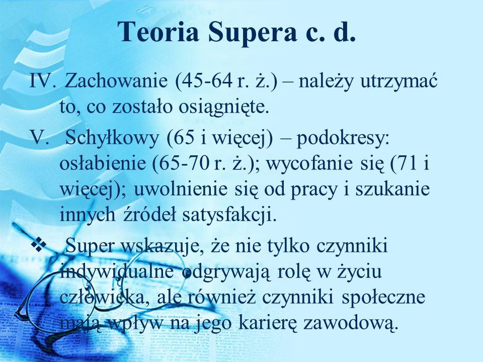 Teoria Supera c. d. IV. Zachowanie (45-64 r. ż.) – należy utrzymać to, co zostało osiągnięte. V. Schyłkowy (65 i więcej) – podokresy: osłabienie (65-7