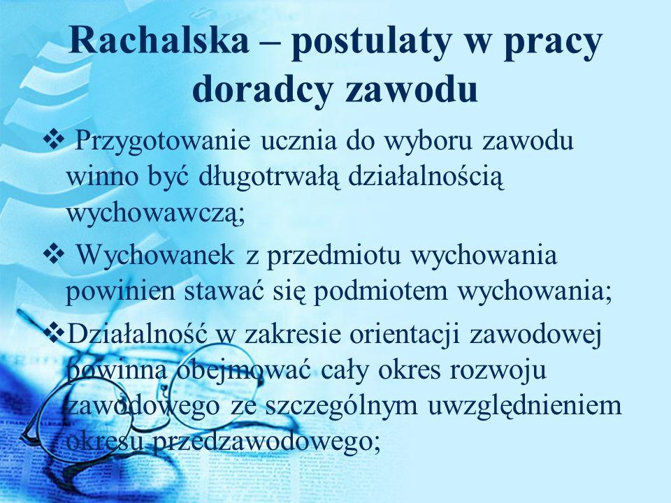 Rachalska – postulaty w pracy doradcy zawodu Przygotowanie ucznia do wyboru zawodu winno być długotrwałą działalnością wychowawczą; Wychowanek z przed