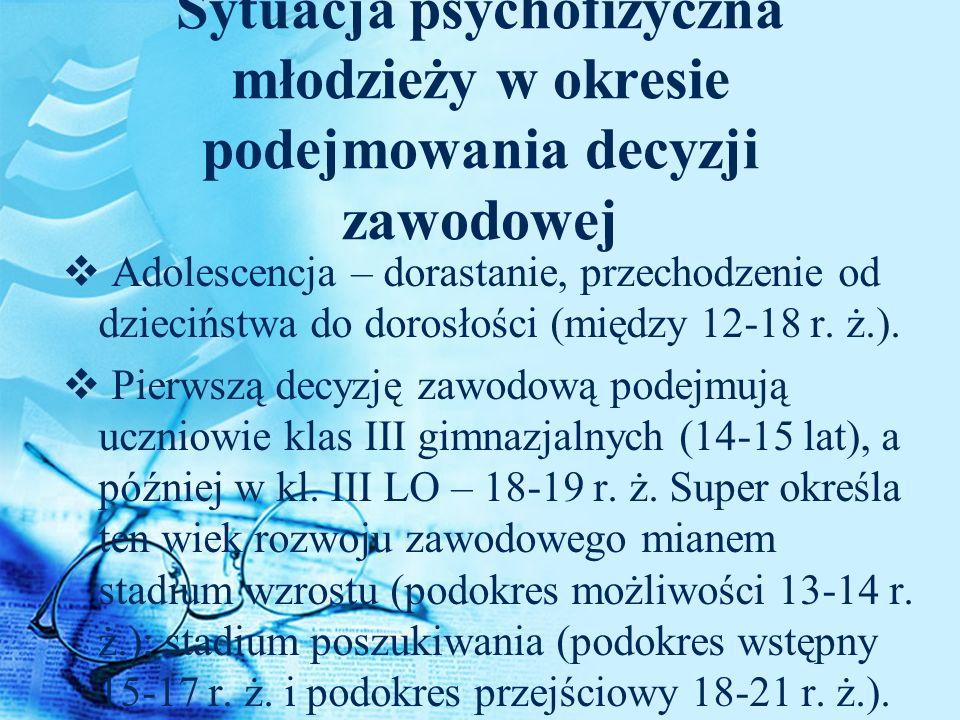 Sytuacja psychofizyczna młodzieży w okresie podejmowania decyzji zawodowej Adolescencja – dorastanie, przechodzenie od dzieciństwa do dorosłości (międ