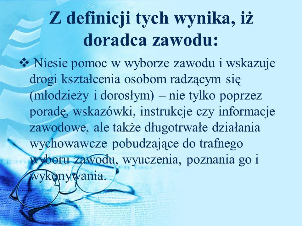 Modele doradcy zawodu wg B.Wojtasik c.d. 2.