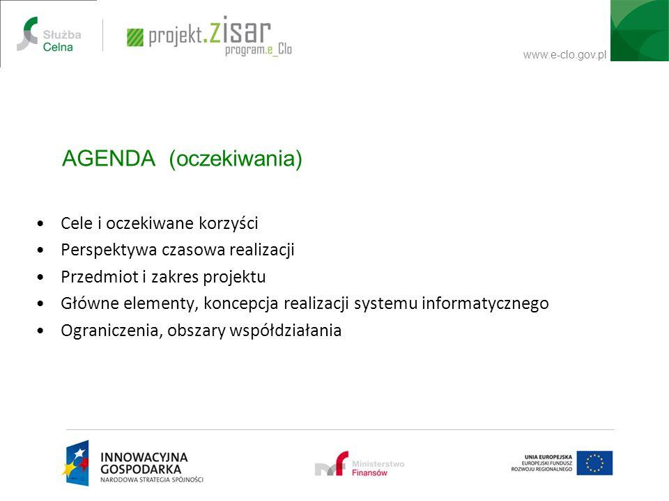 www.e-clo.gov.pl Cele i oczekiwane korzyści Perspektywa czasowa realizacji Przedmiot i zakres projektu Główne elementy, koncepcja realizacji systemu i