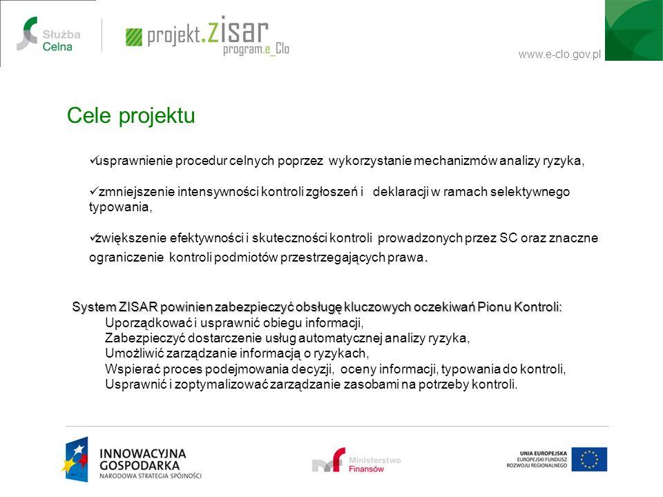 www.e-clo.gov.pl Cele projektu usprawnienie procedur celnych poprzez wykorzystanie mechanizmów analizy ryzyka, zmniejszenie intensywności kontroli zgł