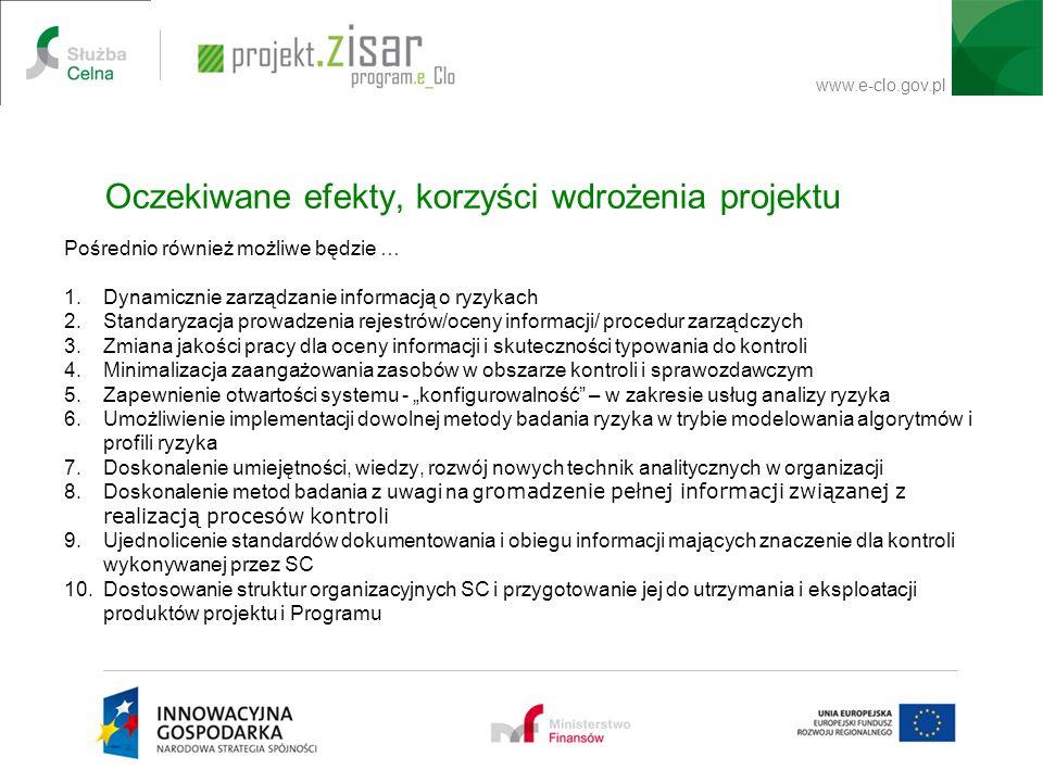www.e-clo.gov.pl Pośrednio również możliwe będzie … 1.Dynamicznie zarządzanie informacją o ryzykach 2.Standaryzacja prowadzenia rejestrów/oceny inform