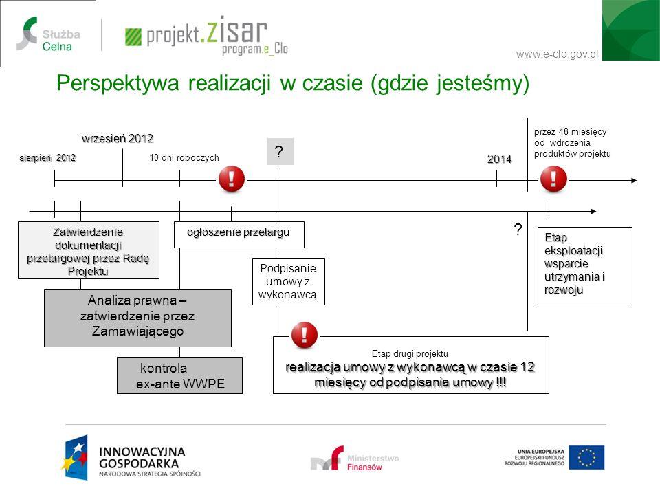 www.e-clo.gov.pl Perspektywa realizacji w czasie (gdzie jesteśmy) Zatwierdzenie dokumentacji przetargowej przez Radę Projektu Analiza prawna – zatwier