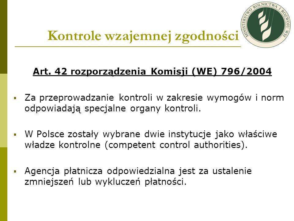 Kontrole wzajemnej zgodności Art. 42 rozporządzenia Komisji (WE) 796/2004 Za przeprowadzanie kontroli w zakresie wymogów i norm odpowiadają specjalne