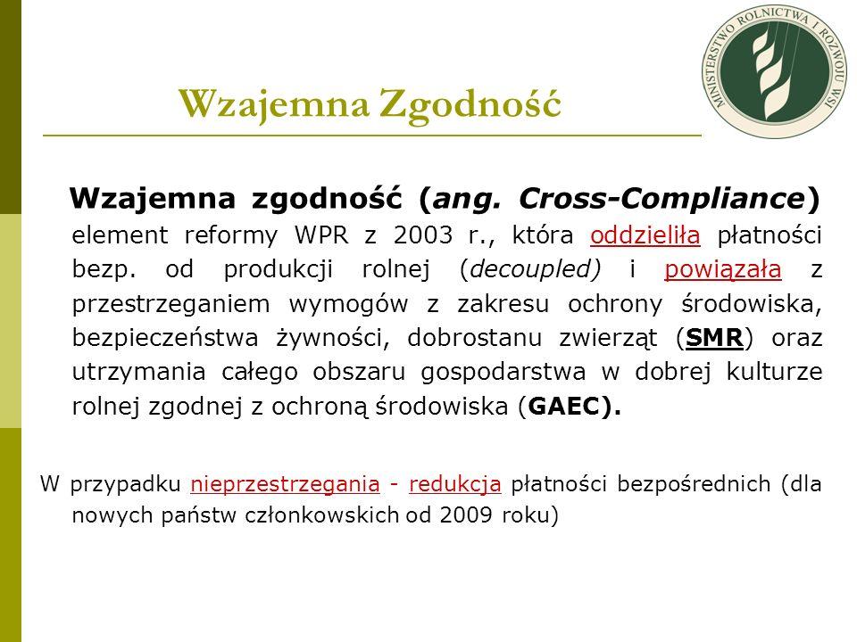 Wzajemna Zgodność Wzajemna zgodność (ang. Cross-Compliance) element reformy WPR z 2003 r., która oddzieliła płatności bezp. od produkcji rolnej (decou
