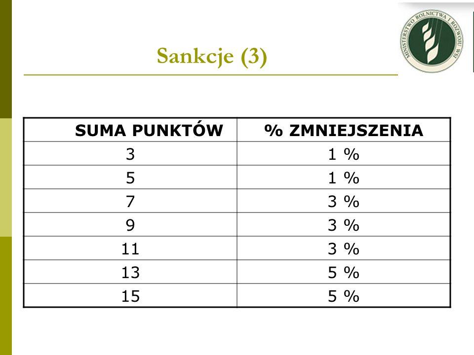 Sankcje (3) SUMA PUNKTÓW% ZMNIEJSZENIA 31 % 5 73 % 9 113 % 135 % 155 %
