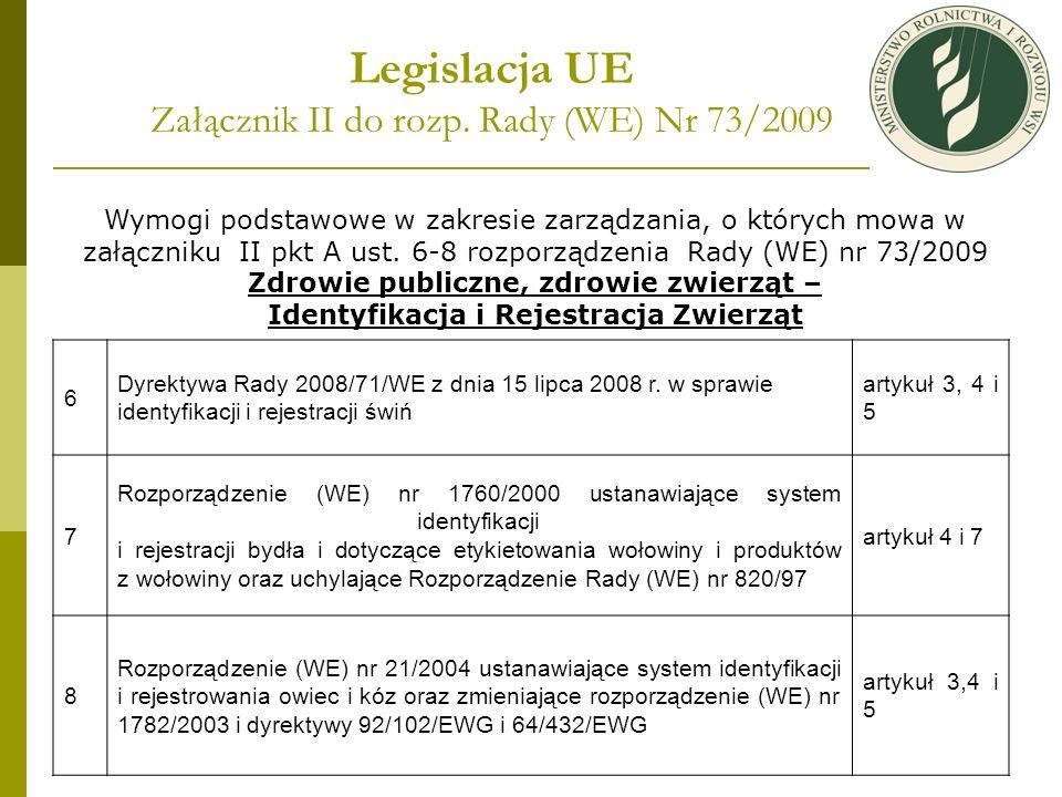 Legislacja UE Załącznik II do rozp. Rady (WE) Nr 73/2009 Wymogi podstawowe w zakresie zarządzania, o których mowa w załączniku II pkt A ust. 6-8 rozpo