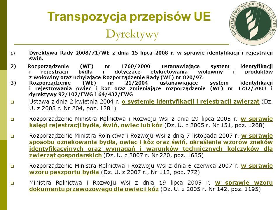 Dyrektywy 1) Dyrektywa Rady 2008/71/WE z dnia 15 lipca 2008 r. w sprawie identyfikacji i rejestracji świń. 2) Rozporządzenie (WE) nr 1760/2000 ustanaw