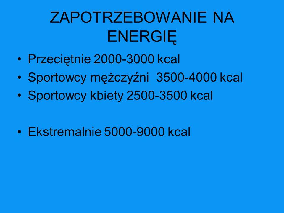 SPORTY WYTRZYMAŁOŚCIOWE CZYNNIKI DETERMINUJĄCE ZAOPATRZENIE ENERGETYCZNE -masa ciała -wydatek energetyczny podczas treningu -częstotliwość startów (przerwy) -aktywność pozasportowa