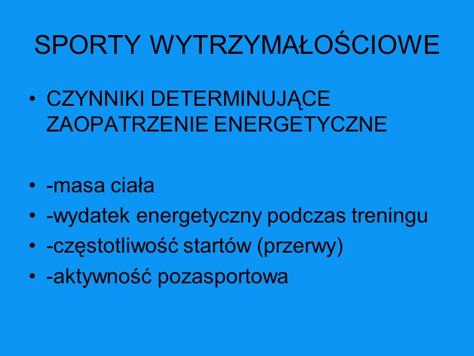 SPORTY WYTRZYMAŁOŚCIOWE CZYNNIKI DETERMINUJĄCE ZAOPATRZENIE ENERGETYCZNE -masa ciała -wydatek energetyczny podczas treningu -częstotliwość startów (pr