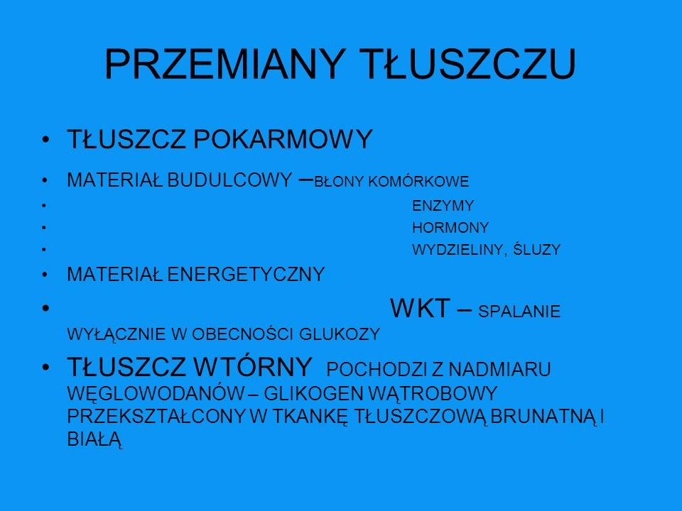 PRZEMIANY WĘGLOWODANÓW DOSTARCZENIE ENERGII DLA OUN, M.