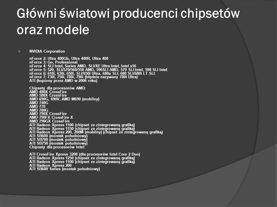 Główni światowi producenci chipsetów oraz modele Intel i845E/GV (FSB 533 Mhz AGPx4 2Go DDR PC2700 max) i850e, i855G (855GME dla Pentium M) i865G/P (FS