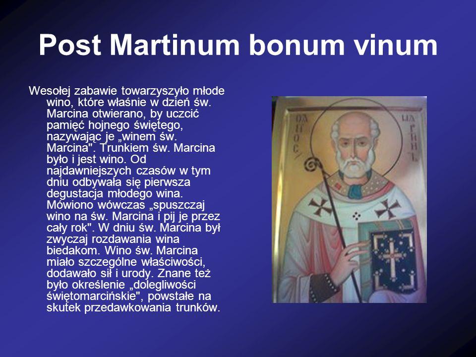 Najlepsza gęsina na świętego Marcina Na świętego Marcina obowiązywał zwyczaj zanoszenia tłustych gęsi do dworu, do klasztoru i do kościoła, ponieważ późną jesienią gęsi są najtłuściejsze i najdorodniejsze.