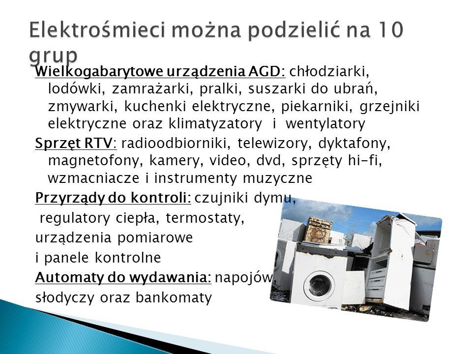 Wielkogabarytowe urządzenia AGD: chłodziarki, lodówki, zamrażarki, pralki, suszarki do ubrań, zmywarki, kuchenki elektryczne, piekarniki, grzejniki el