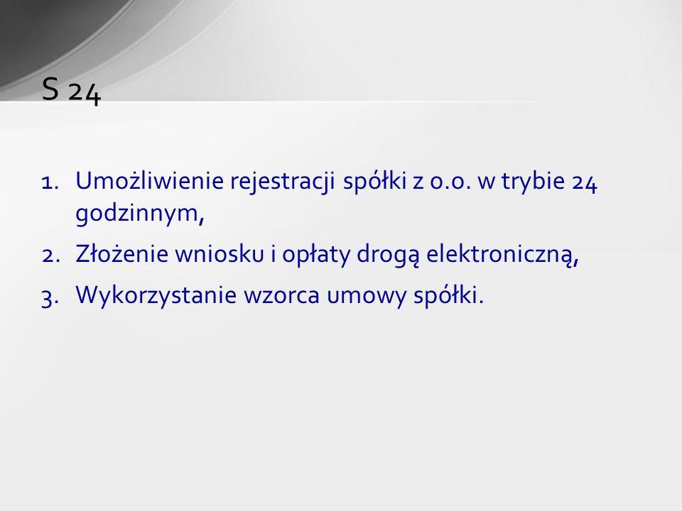 1.Umożliwienie rejestracji spółki z o.o. w trybie 24 godzinnym, 2.Złożenie wniosku i opłaty drogą elektroniczną, 3.Wykorzystanie wzorca umowy spółki.