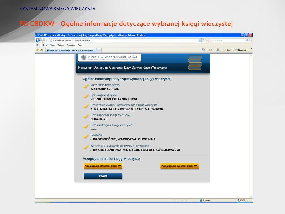 PD CBDKW – Ogólne informacje dotyczące wybranej księgi wieczystej SYSTEM NOWA KSIĘGA WIECZYSTA
