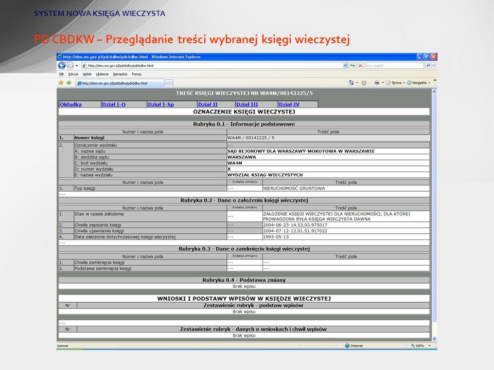 PD CBDKW – Przeglądanie treści wybranej księgi wieczystej SYSTEM NOWA KSIĘGA WIECZYSTA